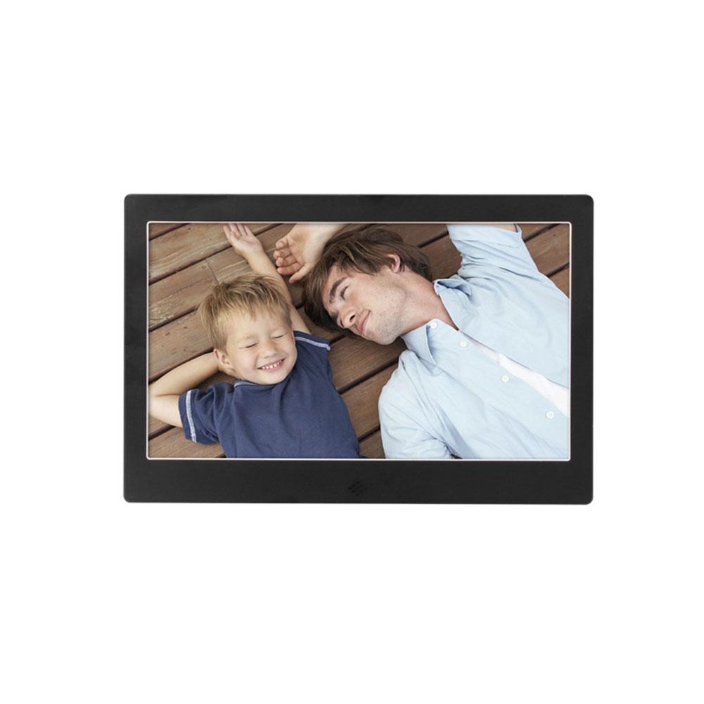 10 Inch Metal LED Digital Photo Frame Video Music Calendar Clock Player 1024x600 Resolution  black EU plug