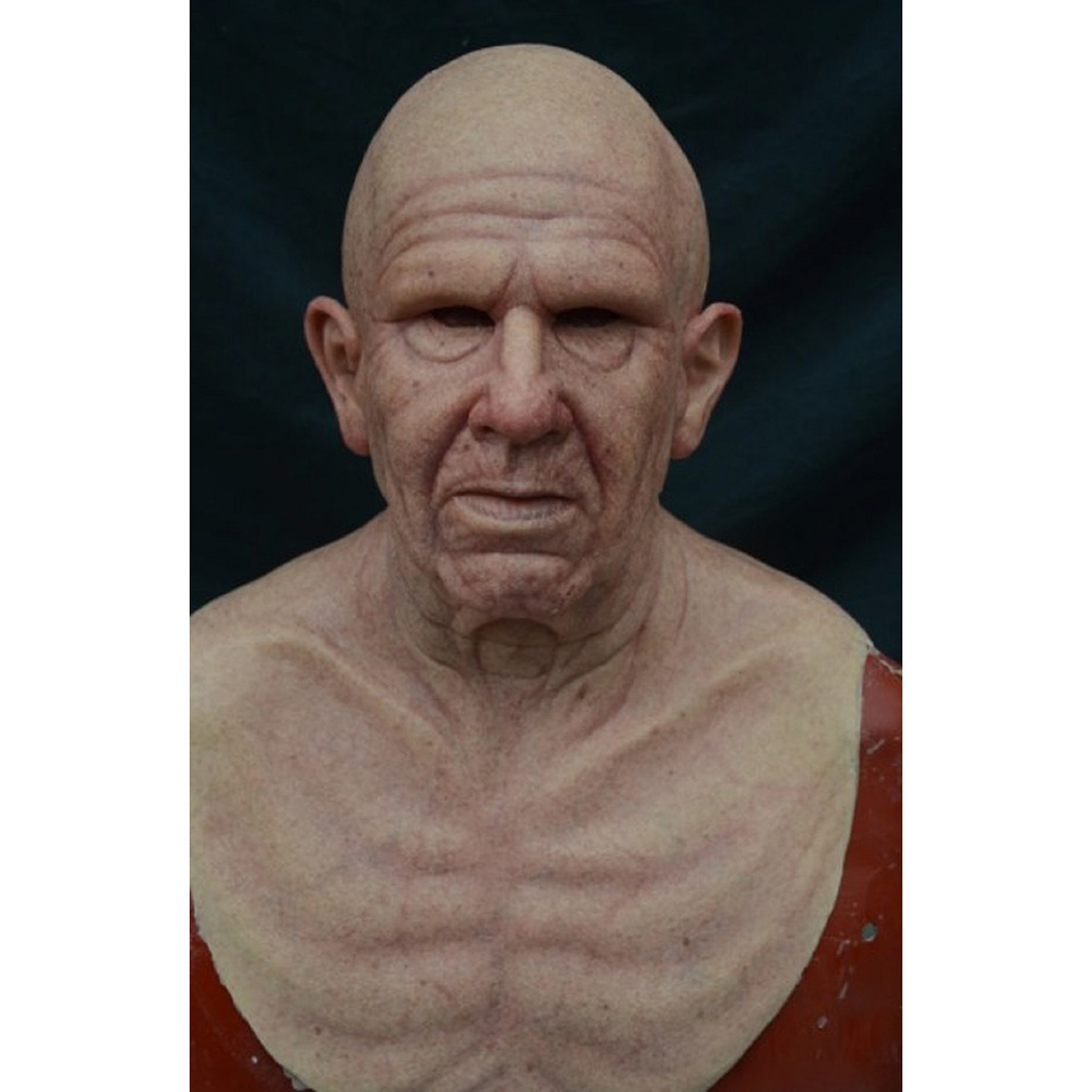 Old Man Mask Moving Mouth Headgear for Halloween Party Performance Prop Old bald