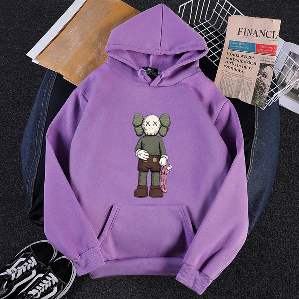Men Women Hoodie Sweatshirt KAWS Cartoon Standing Doll Thicken Autumn Winter Loose Pullover Purple_XXXL