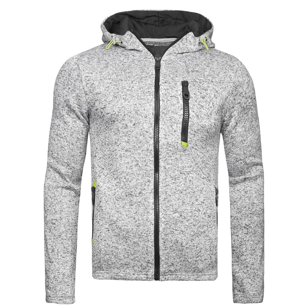 Men Fleece Hooded Tops Zipper Closure Fitness Hoodies Solid Color Sweatshirts Coat gray_M