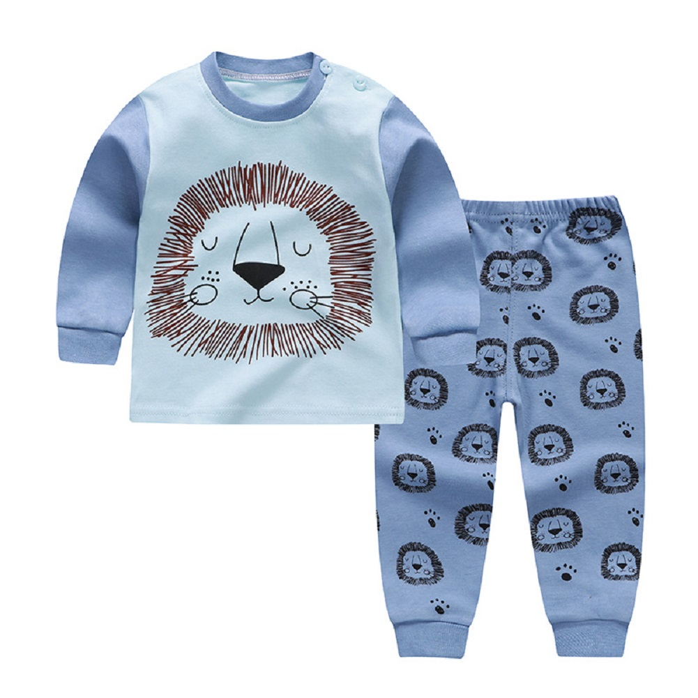 2pcs Kids Girl Boy Long Sleeve Round Collar Tops+Long Trousers Home Wearing Clothes Suits Autumn blue lion_90/60  #