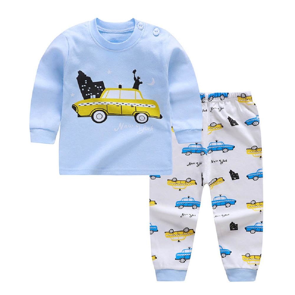 2pcs Kids Girl Boy Long Sleeve Round Collar Tops+Long Trousers Home Wearing Clothes Suits Autumn set goddess car_90/60  #