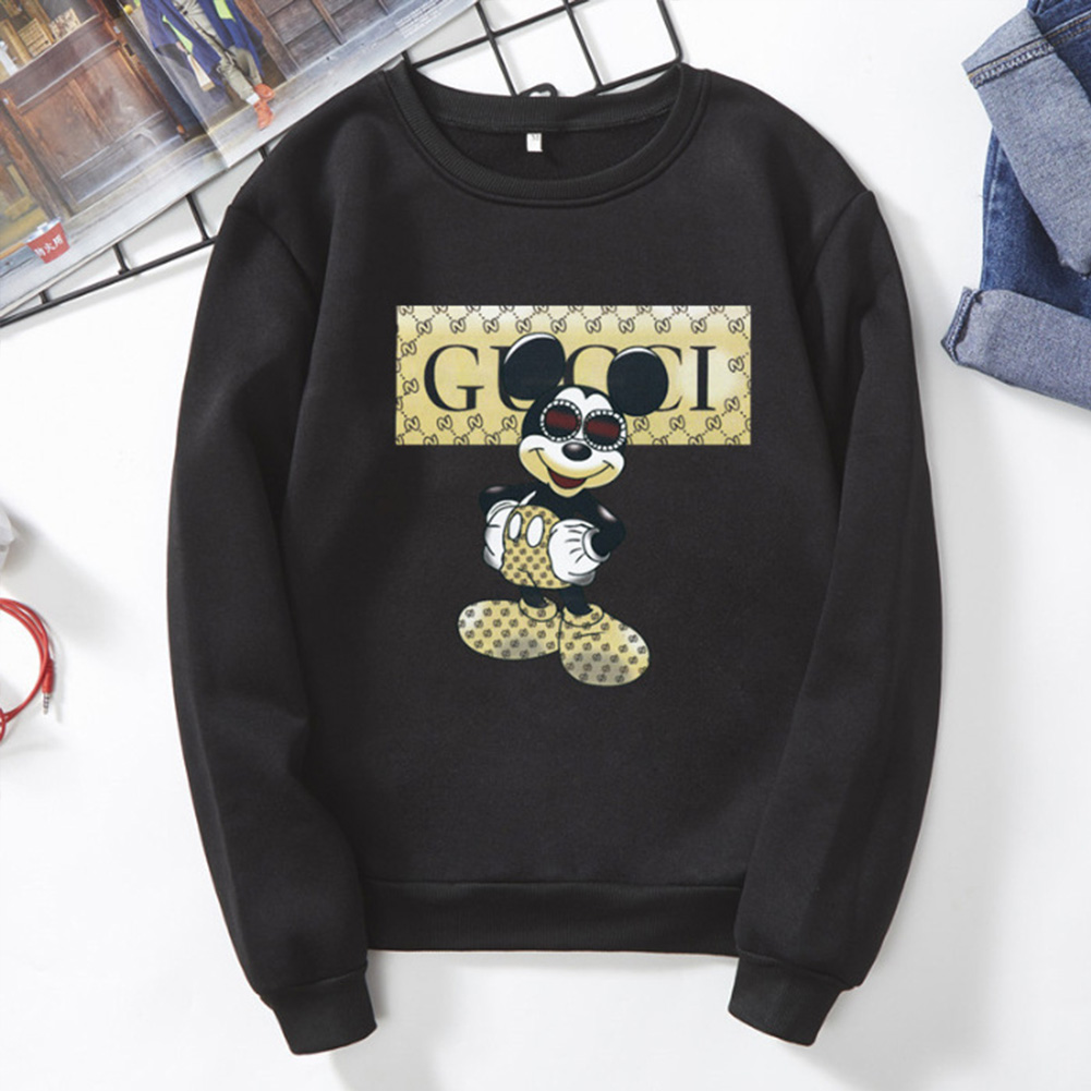 Men Cartoon Sweatshirt Micky Mouse Autumn Winter Loose Student Couple Wear Pullover Black_3XL