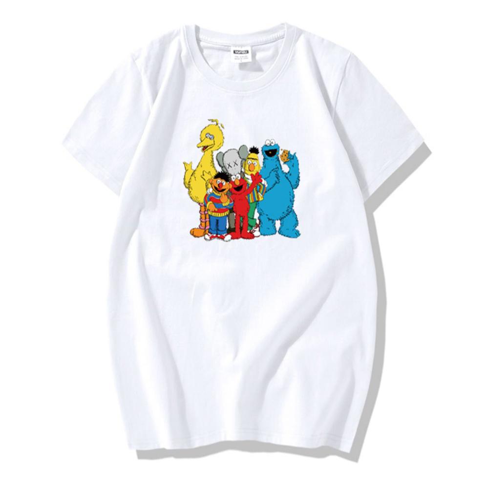 Summer Fashion Popular Cotton KAWS Cartoon Printing Short Sleeve T-shirt for Couples KAWS(02) white_L