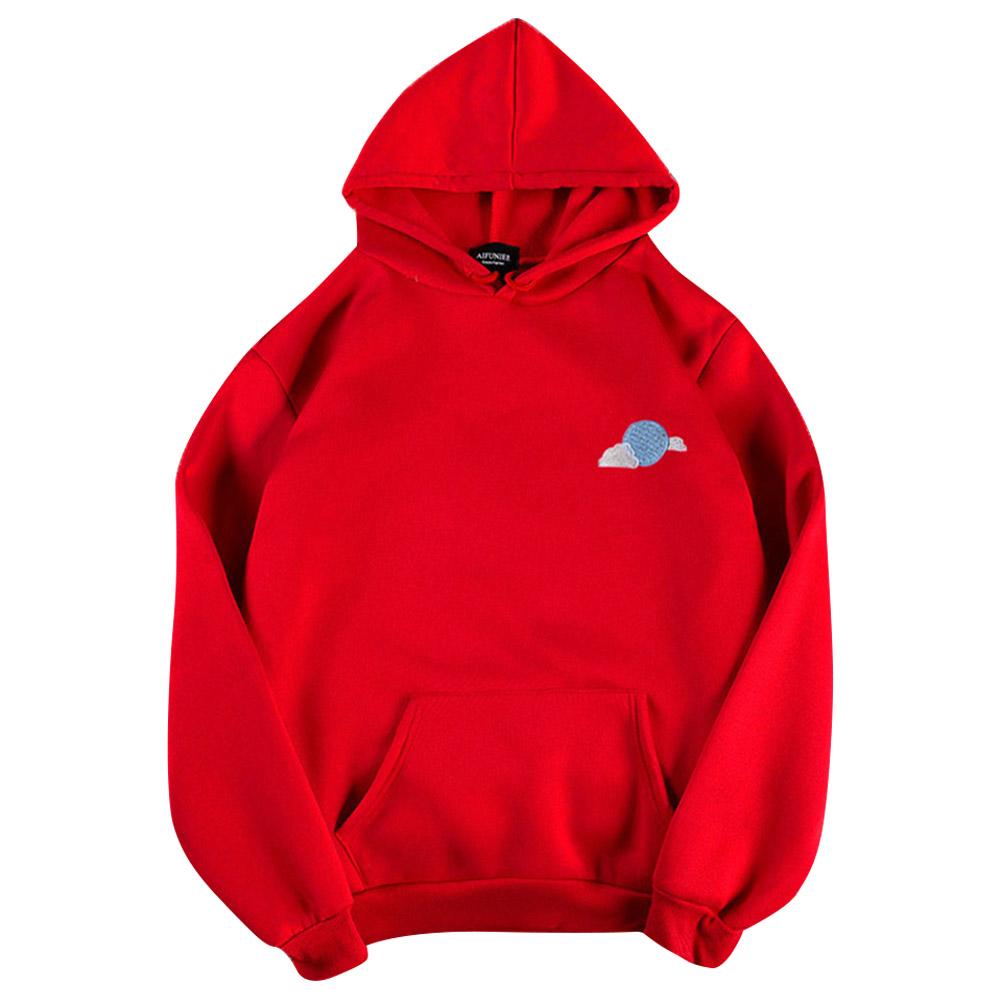 Men Women Hoodie Sweatshirt Thicken Velvet Cloud Loose Autumn Winter Pullover Tops Red_L