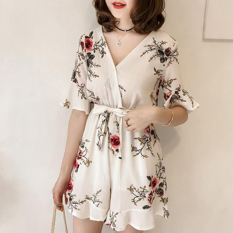 Women Summer Jumpsuits Chiffon Floral Printing Casual Clothes for Beach Vacation white_L