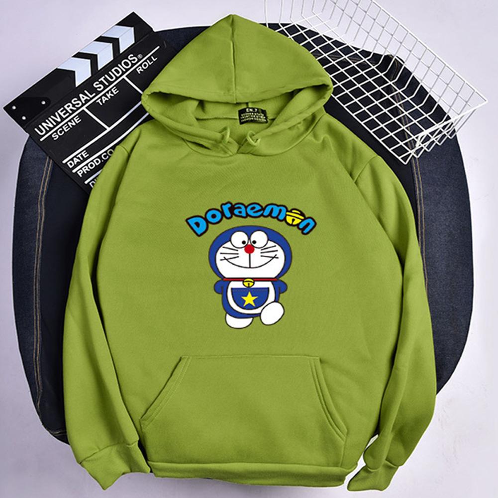 Men Women Hoodie Sweatshirt Doraemon Cartoon Thicken Loose Autumn Winter Pullover Tops Green_M