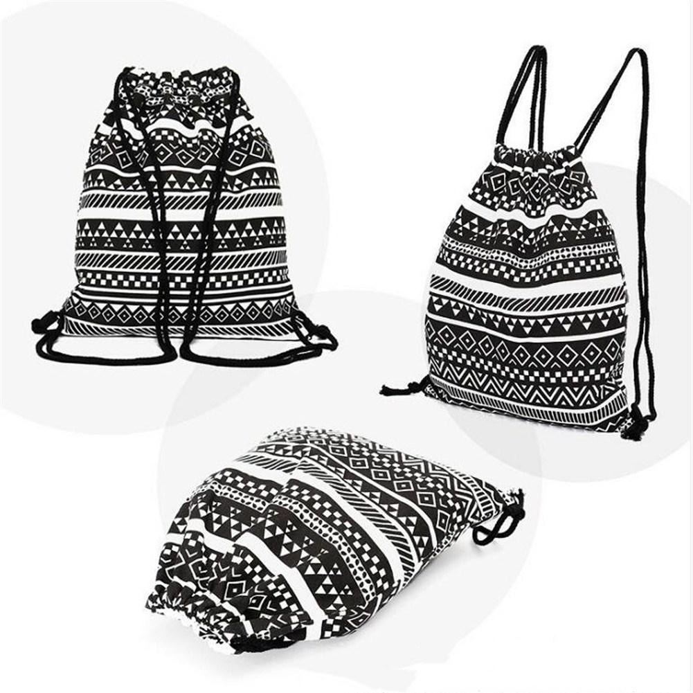 Fashion National Style Canvas Drawstring Backpack Bag black_38.5*33cm