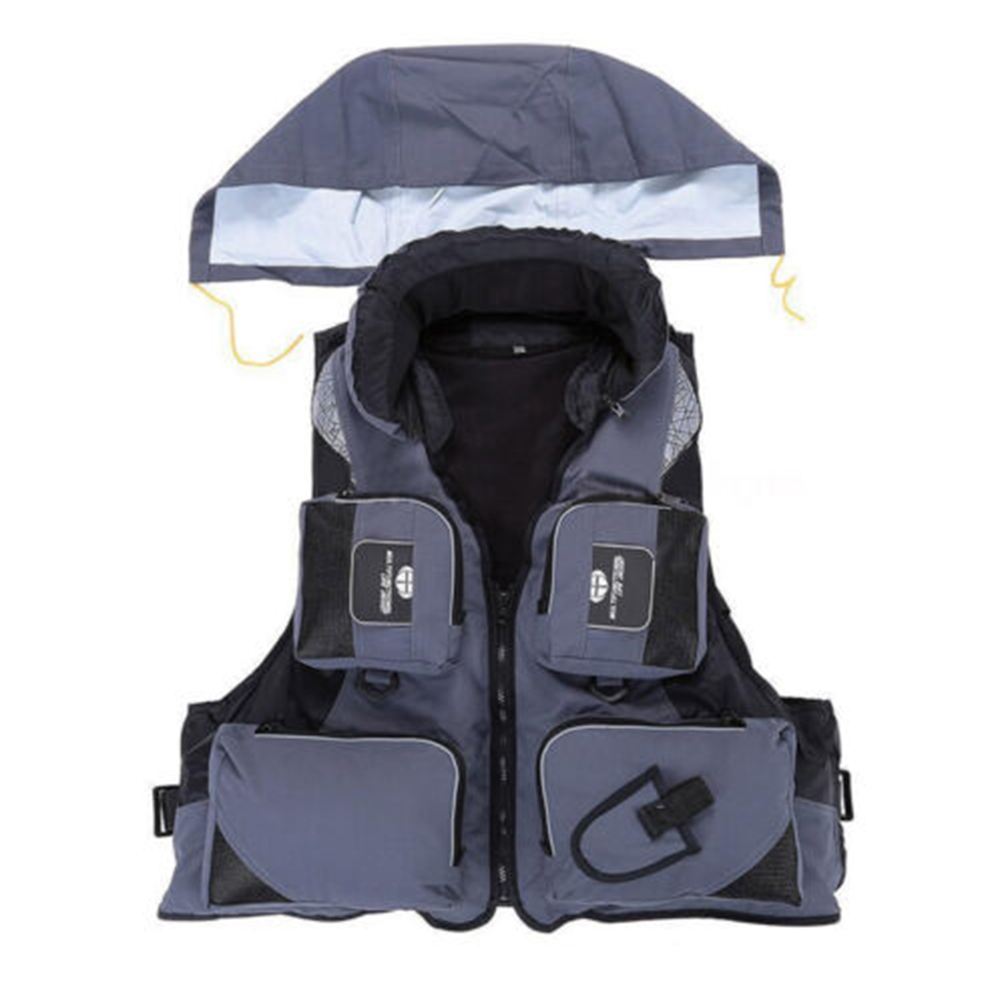 Adjustable Adult Safety Life Jacket Survival Vest for Swimming Boating Fishing  gray_XL