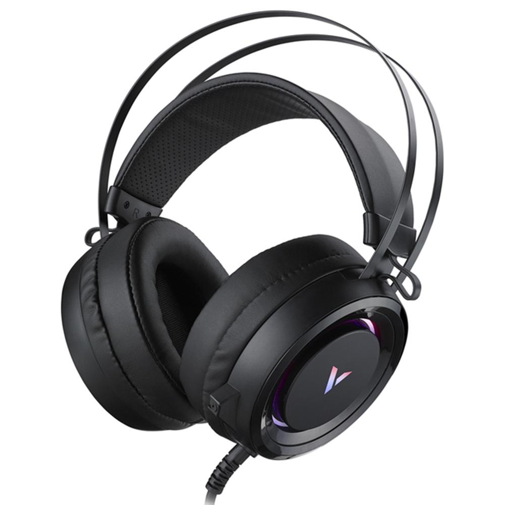 VH500C Gaming Headset Virtual 7.1 Surround Sound Headphone RGB Led Light 50mm Driver Unit With Mic Black