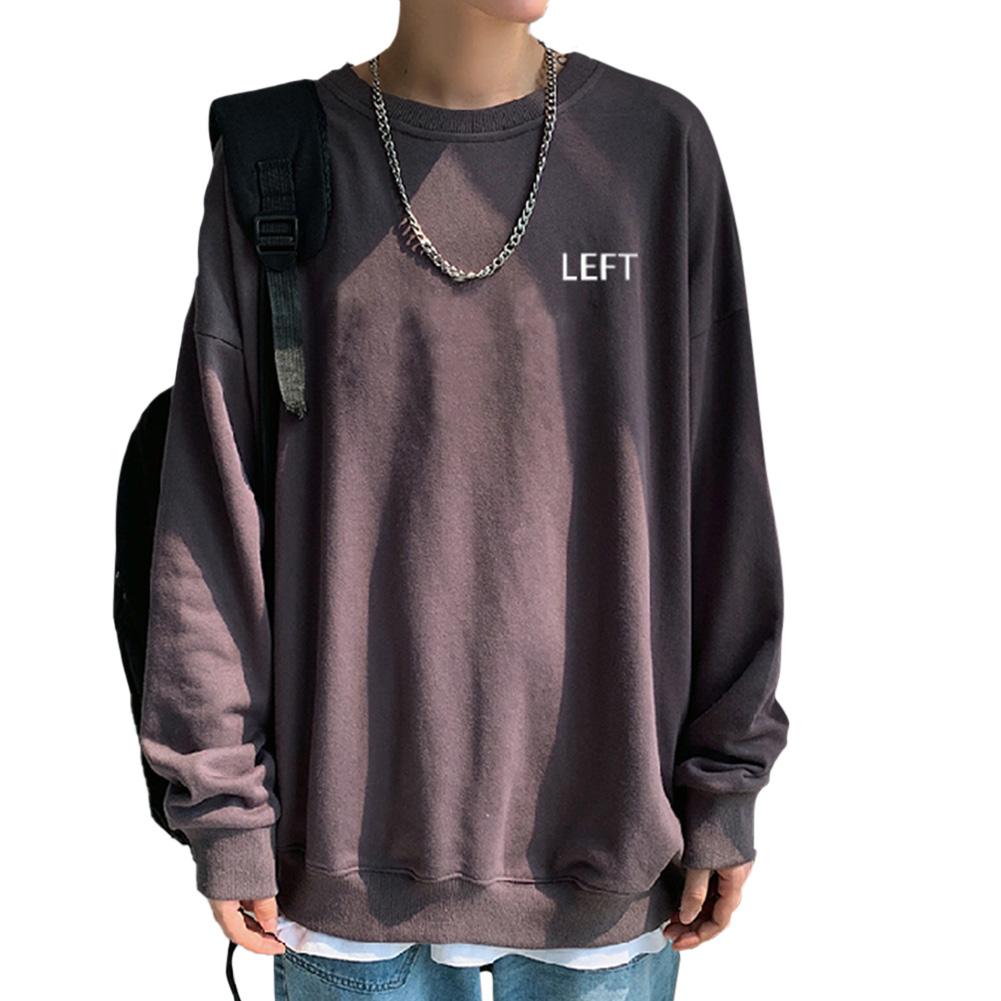 Men Crew Neck Sweatshirt Solid Color Printing LEFT Loose Casual Male Pullover Tops Gray_M