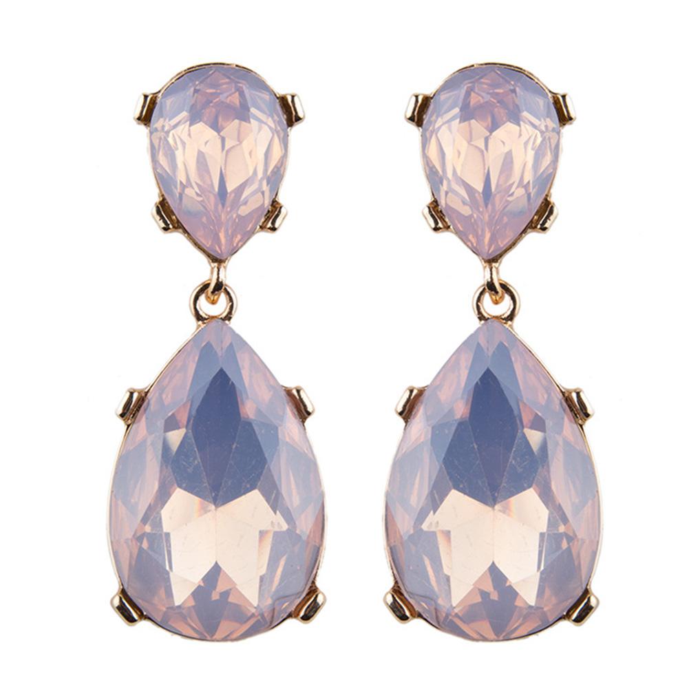 Women's Elegant Drop Diamonds String Dangle Earring Mid-long Bridal Ear Studs
