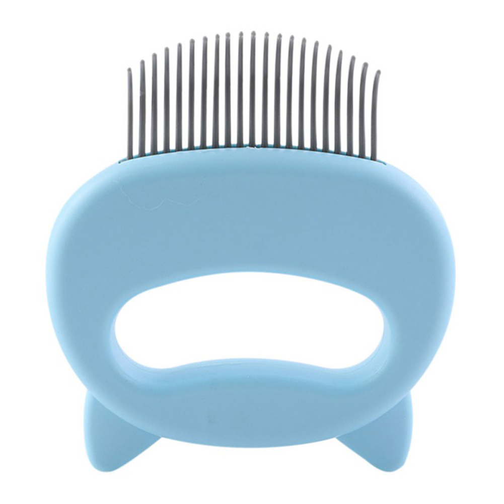 Pet Cat Massage Brush Hair Remover Pet Grooming Tool with Cartoon Handle blue