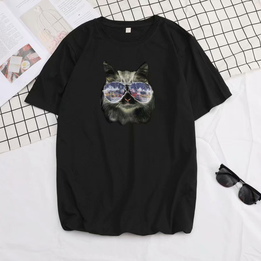 Short Sleeves and Round Neck Shirt Leisure Pullover Top with Animal Pattern Decorated 6105 black_L