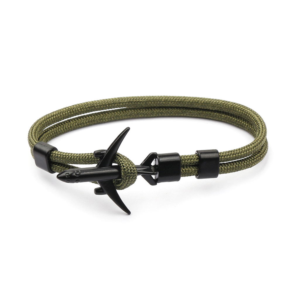 Airplane Anchor Bracelets Charm Rope 550 Paracord Bracelet Sport Hooks Jewelry Army Green Black Aircraft Bracelet BB12-0302