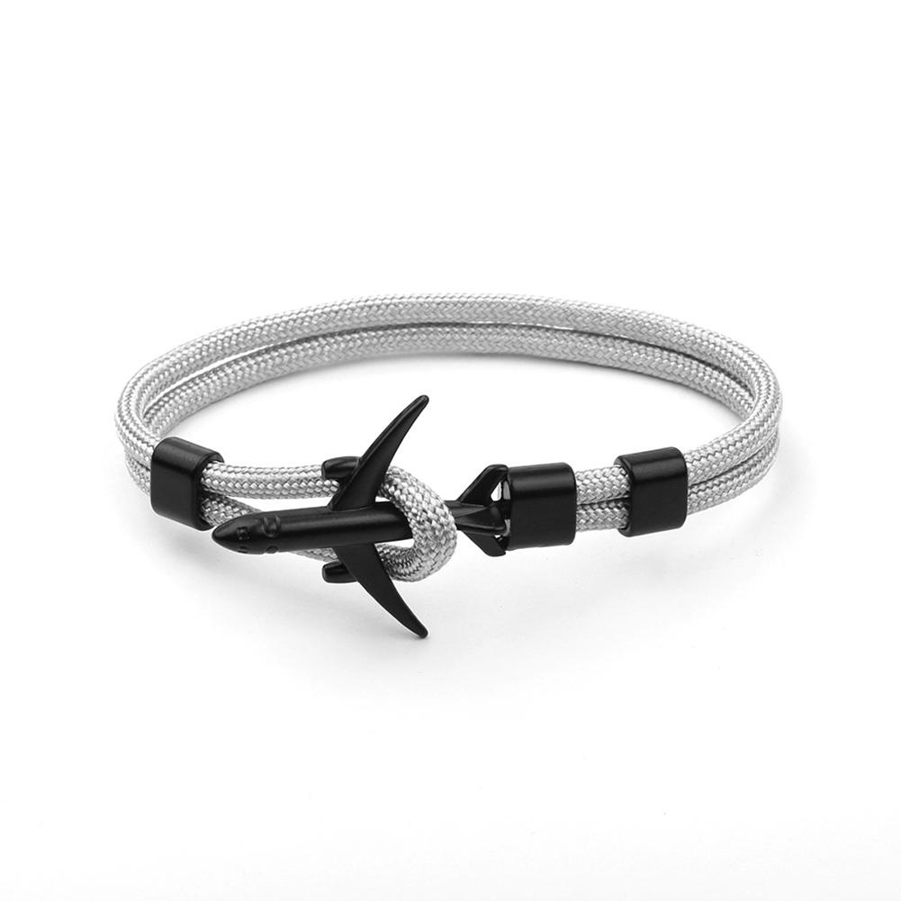 Airplane Anchor Bracelets Charm Rope 550 Paracord Bracelet Sport Hooks Jewelry Silver Grey Black Aircraft Bracelet B12-0104