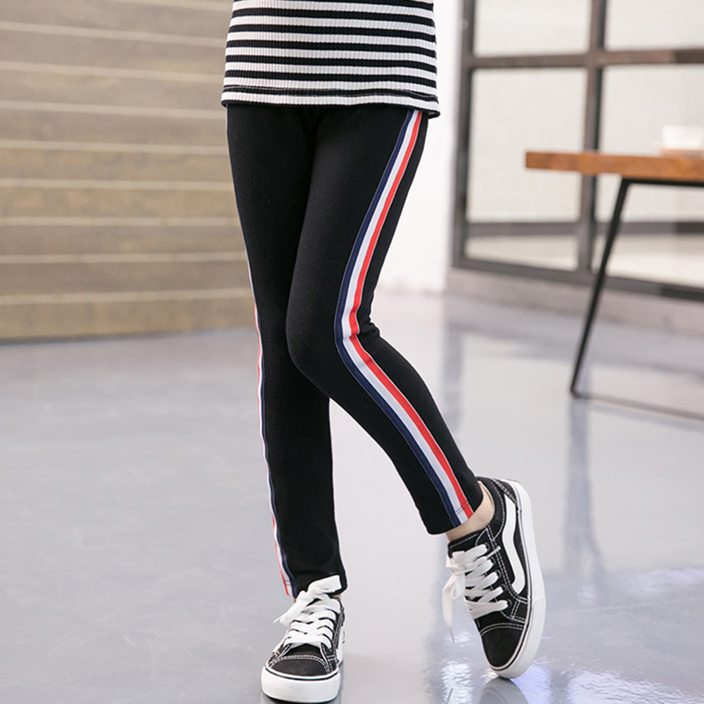Kids Girl Pants Pure Cotton Fashion Sports Leggings for Girls Solid Color Pencil Pants black_150 yards (suitable for height 140-150cm)