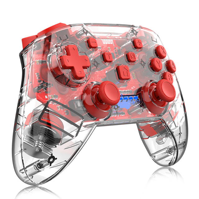 Game Handle Plastic Transparent Wireless Bluetooth Game Controller for Nintendo Switch red