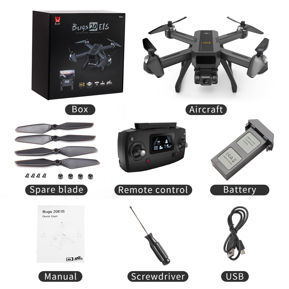 MJX B20 EOS With 4K 5G WIFI Adjustable Camera Optical Flow Positioning Brushless RC Quadcopter Drone RTF 1 battery