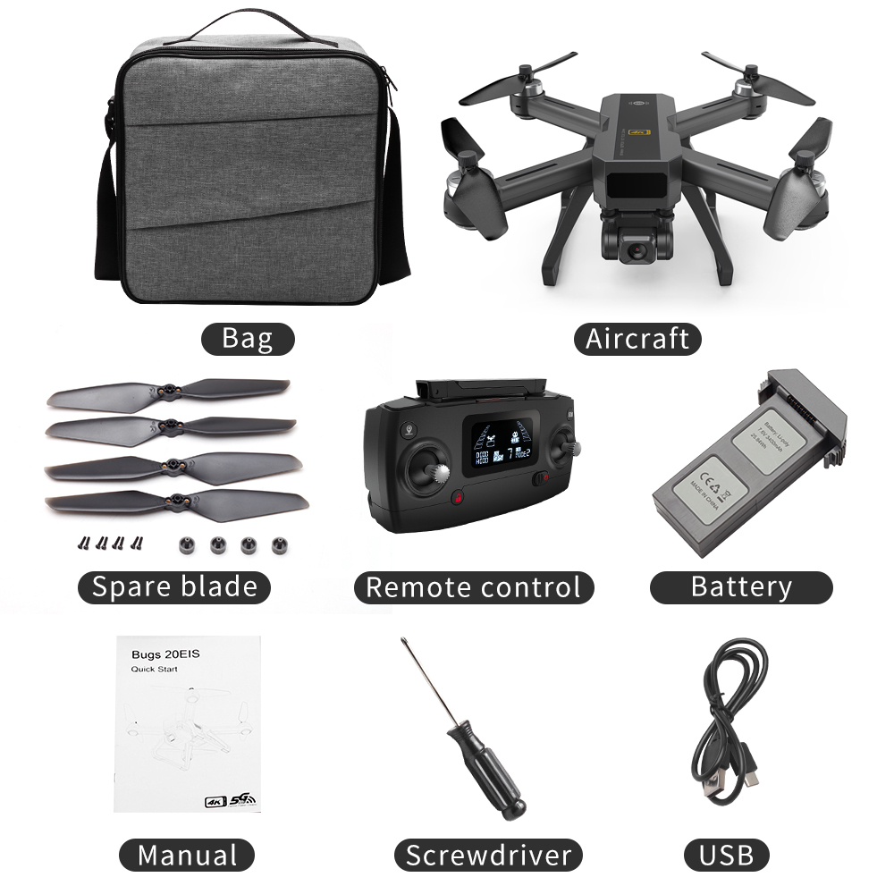 MJX B20 EOS With 4K 5G WIFI Adjustable Camera Optical Flow Positioning Brushless RC Quadcopter Drone RTF Storage bag 1 battery