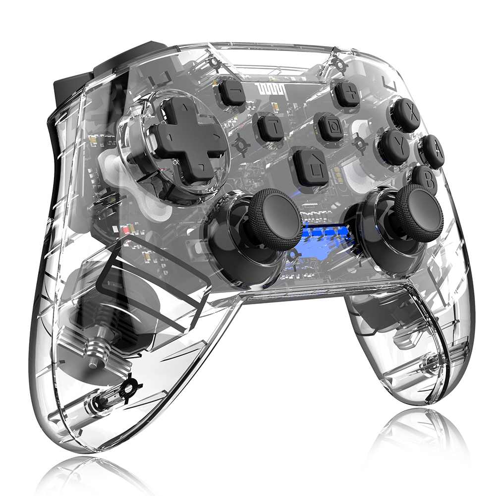 Game Handle Plastic Transparent Wireless Bluetooth Game Controller for Nintendo Switch black