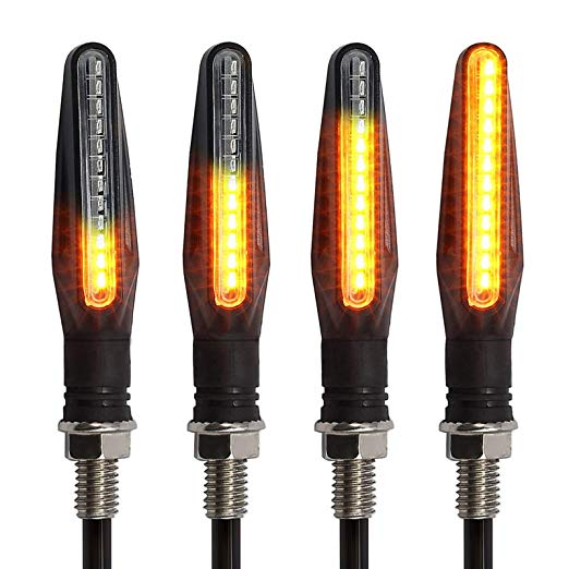 4pcs 12V 12LED Flowing LED Motorcycle Turn Signal Indicators Lights yellow light