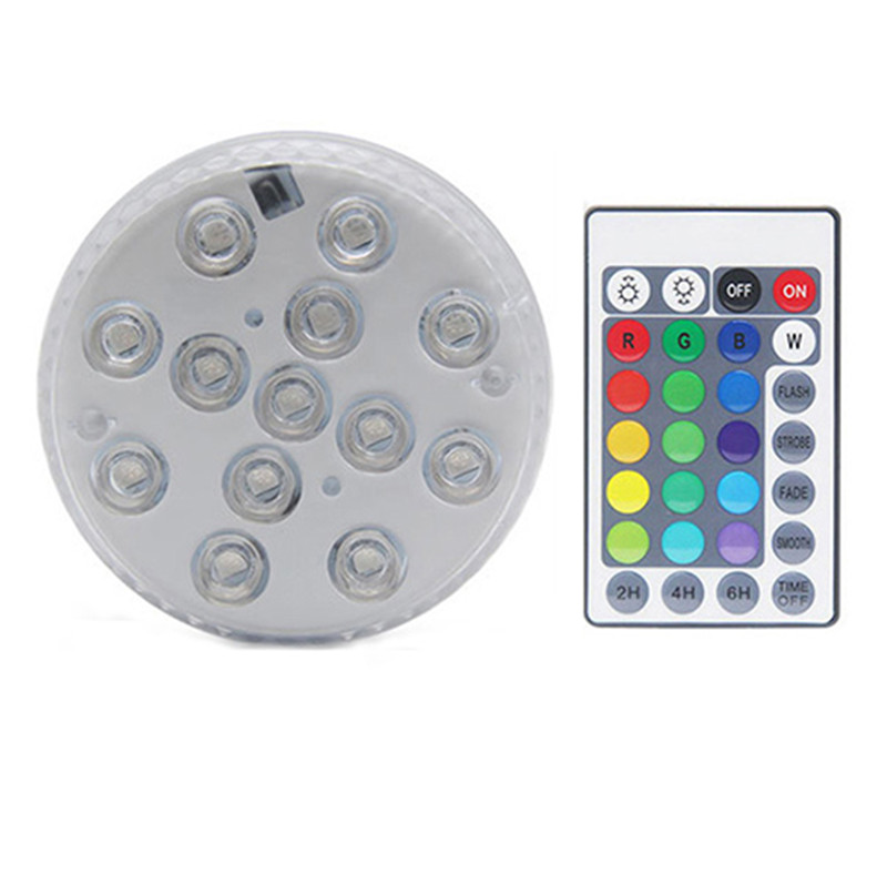 13LEDs Submersible Light Remote Controlled RGB Underwater Night Lamp with Suction Cup 7CM diameter_1 with 1/infrared remote control