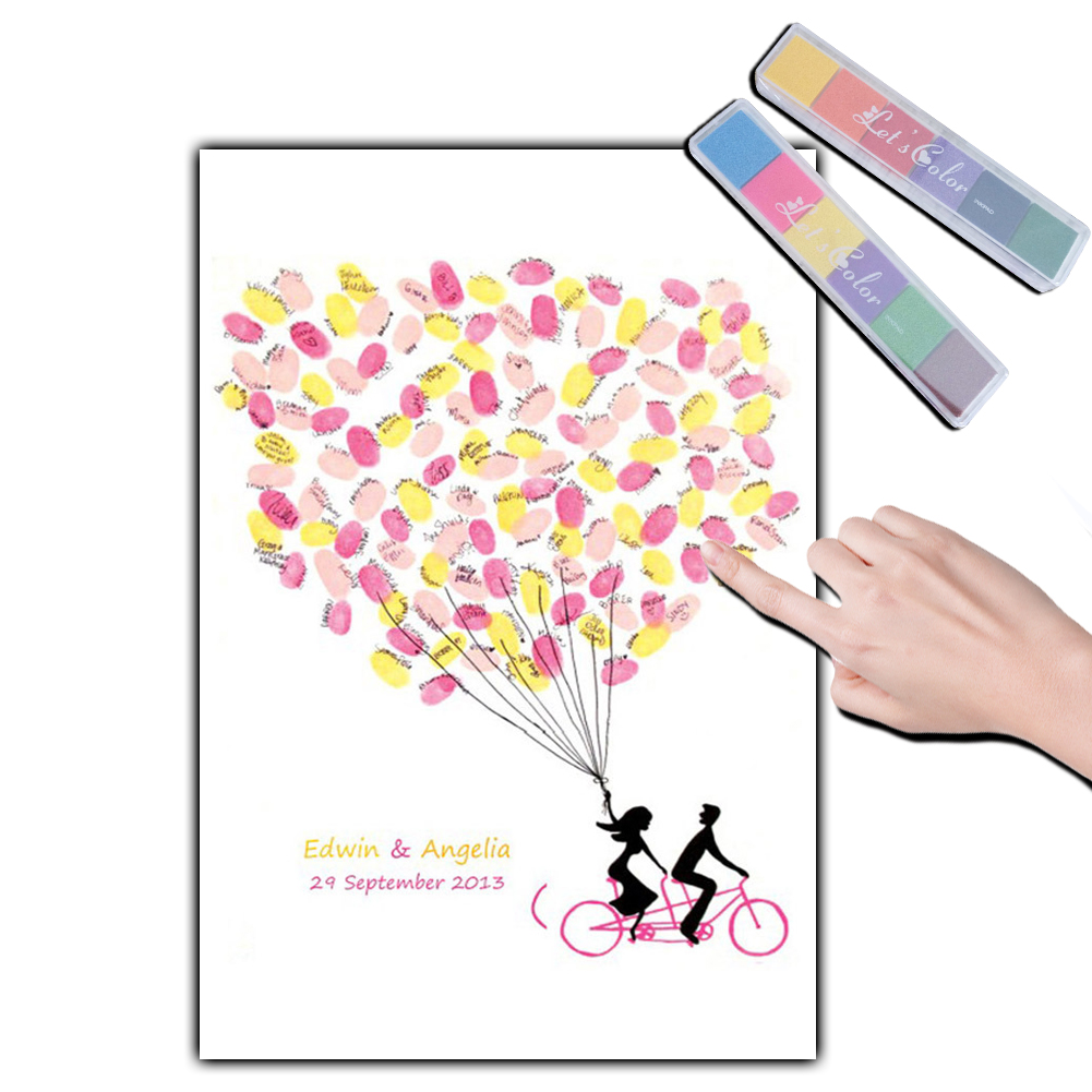 Fingerprint Signature Guest Book, Wedding Fingerprint Tree Canvas Painting, DIY Baby Shower Party Supplies with 2 set Inkpad