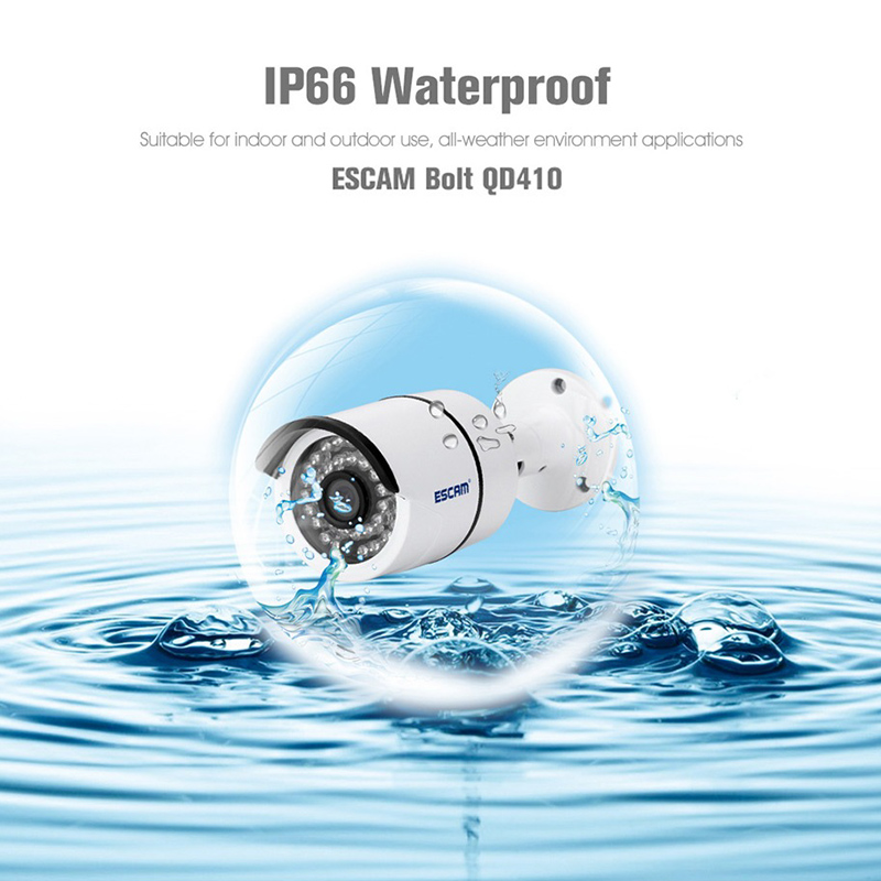 ESCAM QD410 IP Camera - 1/3 Inch CMOS, 2592x1520 Resolutions,  H.265 Compression, ONVIF 2.0, iOS & Android App, 15M Night Vision