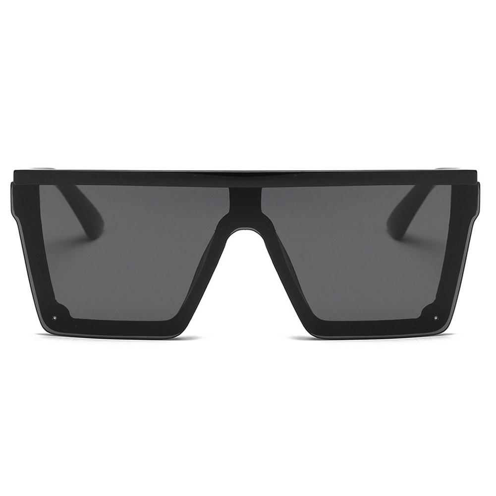 Universal Women Fashion Large Square Frame Sunglasses UV400 Sunglasses Black frame double gray_#1