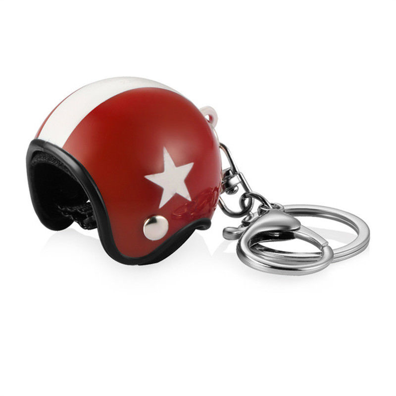 3D Car Motorcycle Motor Bicycle Crash Helmet Key Fob Chain Ring Keychain Red Hat White Star
