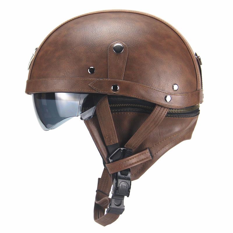 Unisex Leather Helmets for Motorcycle Retro Half Cruise Helmet Motorcycle Helmet Dark brown