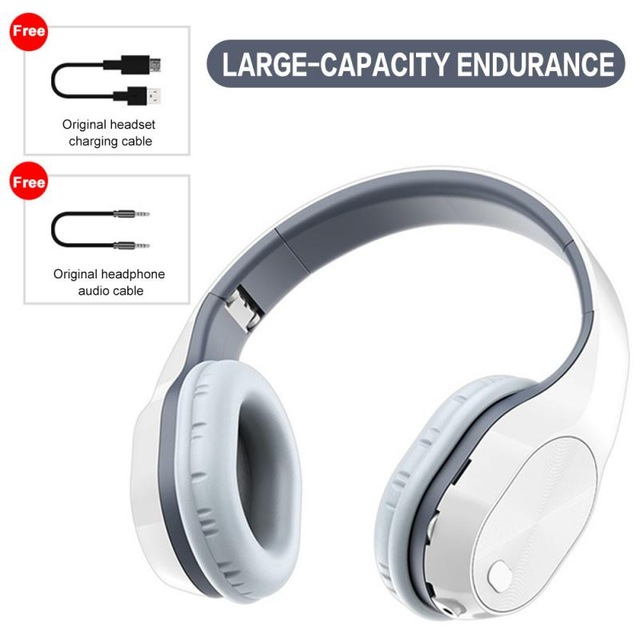 T5 Wireless Bluetooth Headset Foldable Head-mounted Headset Running hanging ear stretch computer game headset Off-white