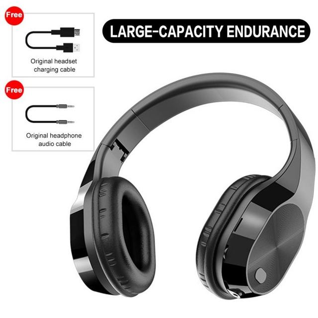 T5 Wireless Bluetooth Headset Foldable Head-mounted Headset Running hanging ear stretch computer game headset black