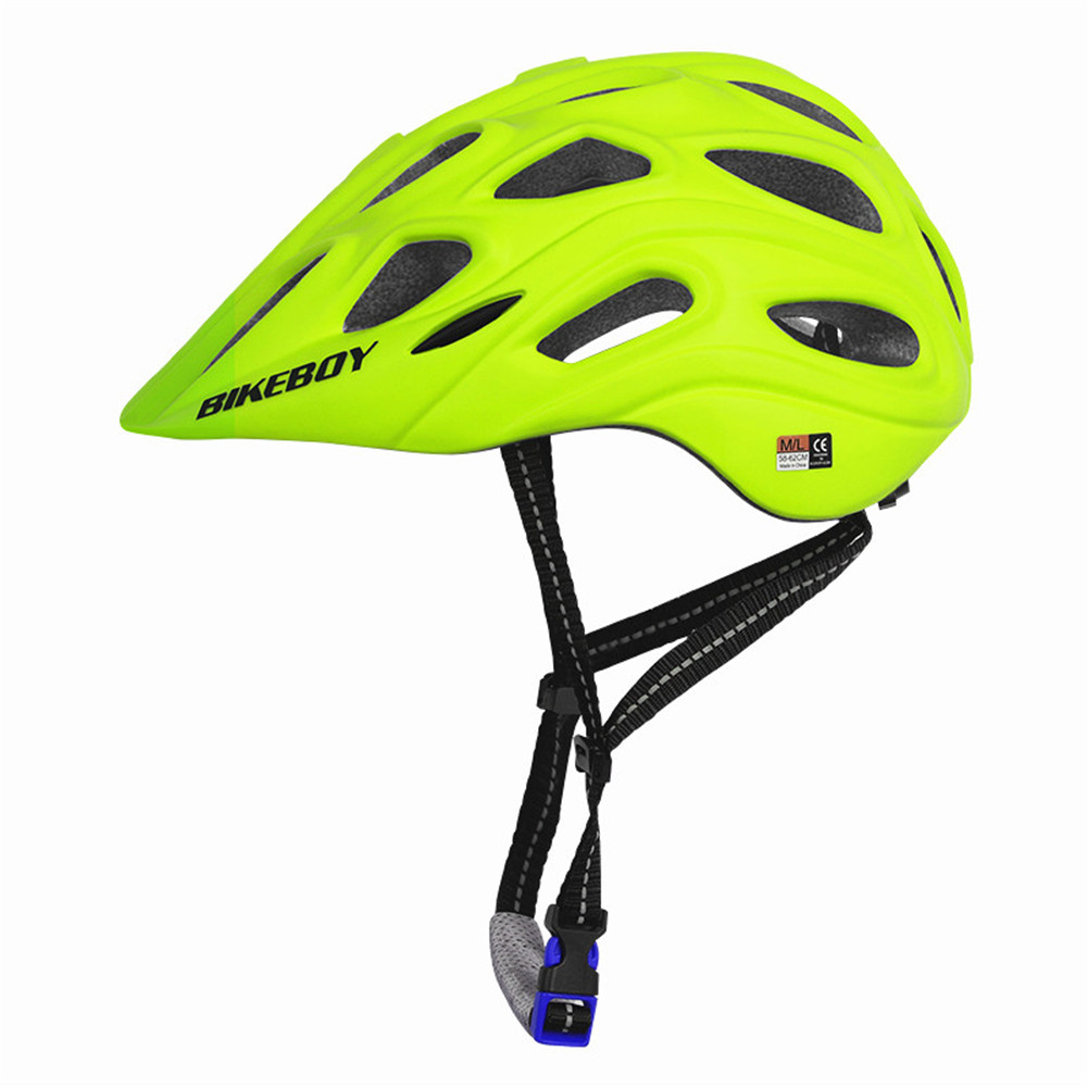 Professional Road Mountain Bike Helmet with Glasses Ultralight MTB All-terrain Sports Riding Cycling Helmet Fluorescent yellow_One size
