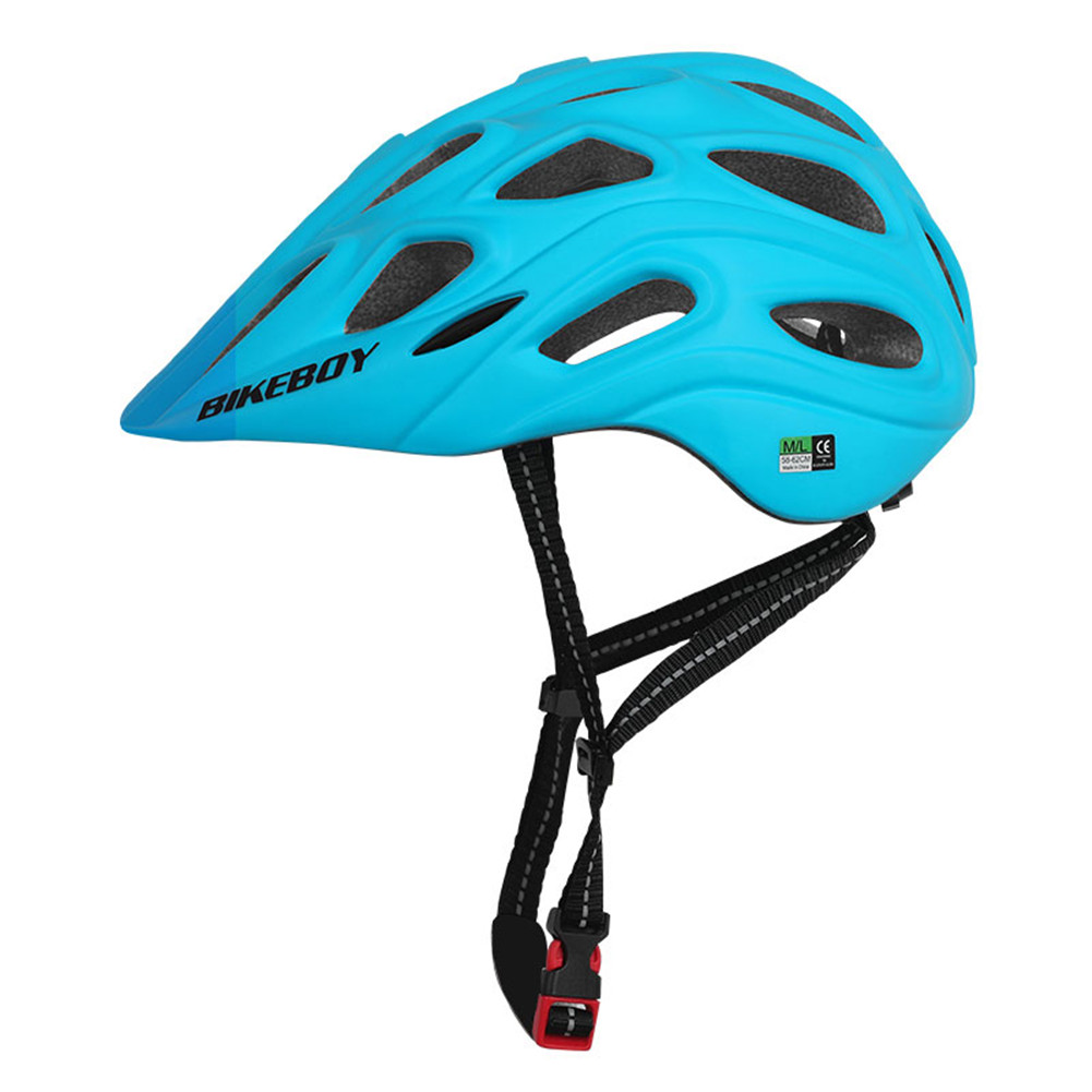 Professional Road Mountain Bike Helmet with Glasses Ultralight MTB All-terrain Sports Riding Cycling Helmet blue_One size