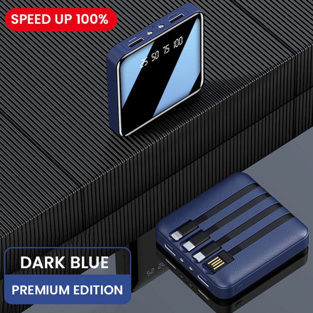 4 In 1 10000mah Mini Power Bank For Iphone 12 Portable Charger With Led For Xiaomi Redmi 10 External Battery Powerbank Blue