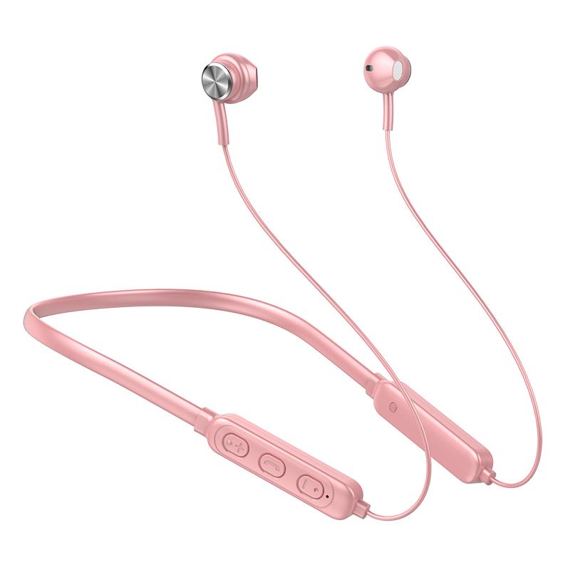 Ergonomic Earphones Lightweight Hanging Neck Wireless Bluetooth Sports Earphone GB04 Pink