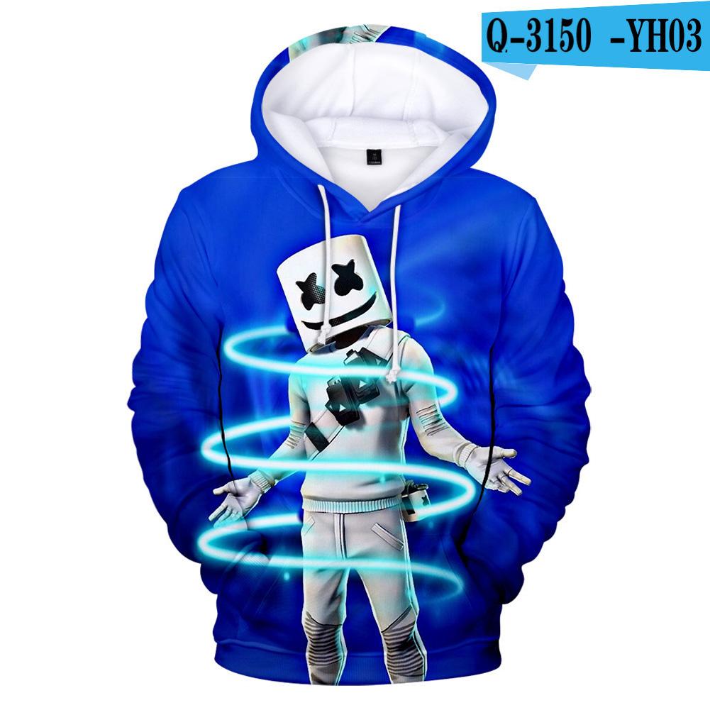 Men Women DJ Marshmello 3D Print Small Happy Face Long Sleeve Sport Hoodies Sweatshirt Q-3150-YH03 G style_L