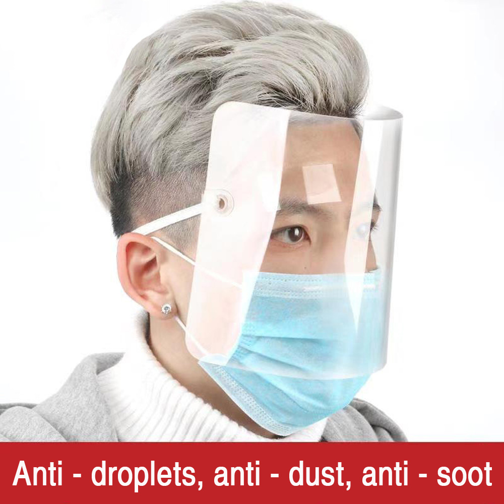 1PC/3PCs Transparent PVC Plastic Head Wear Droplet-proof Face Mask 1PC