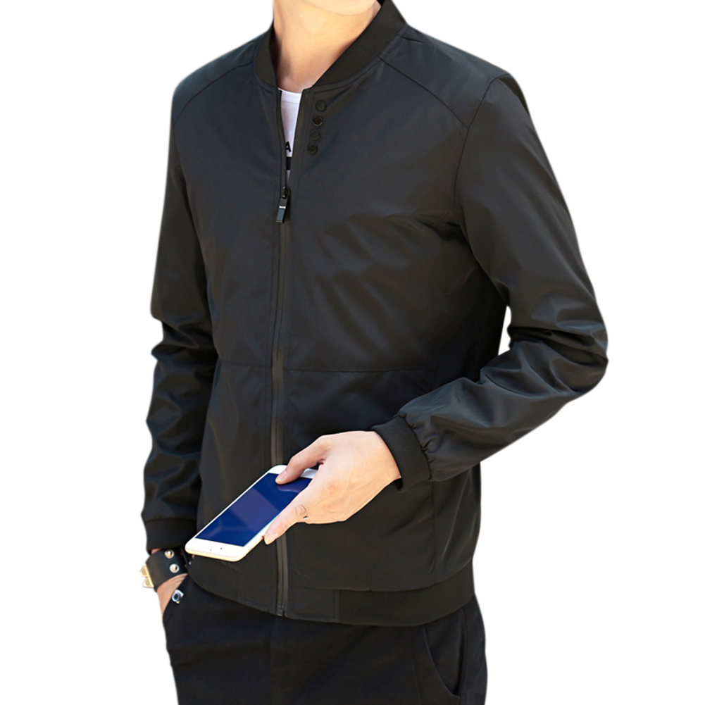 Men Baseball Solid Color Stand-up Collar Coat