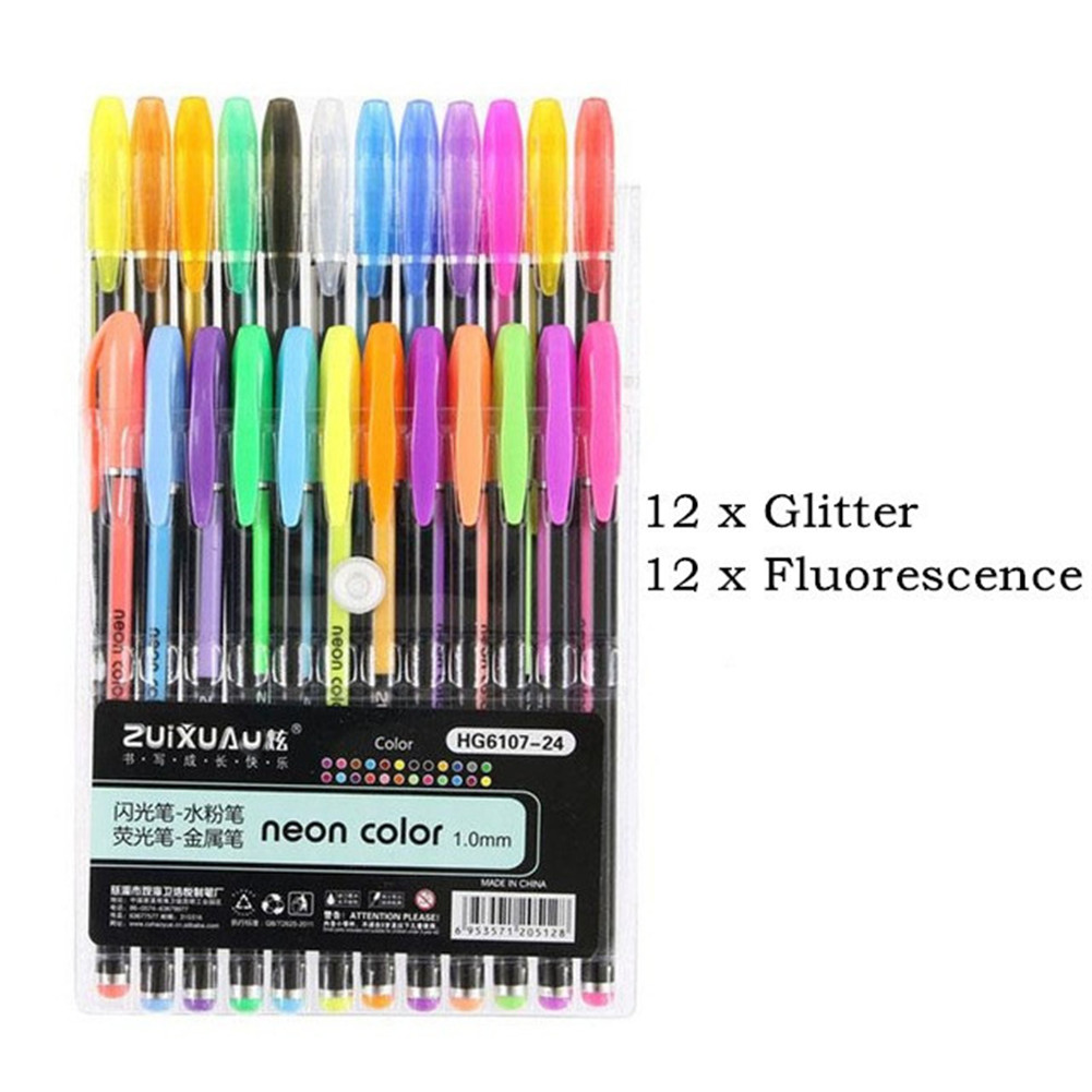 12/16/18/24/36/48 Colors Gel  Pen  Set Hand-painted Coloring Highlighter Pen Writing Stationery