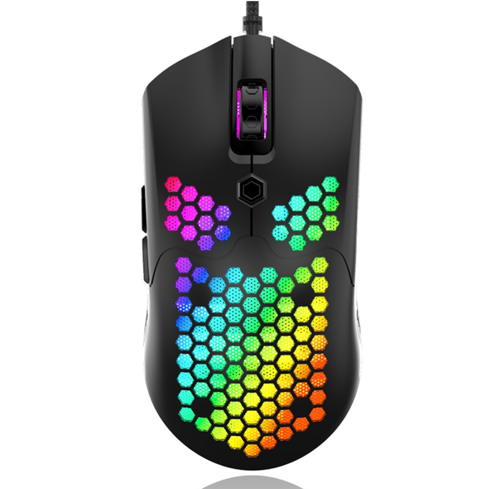 USB Game Mouse 12000dpi Colorful Light Hollow Honeycomb Lightweight for Computer Laptop black