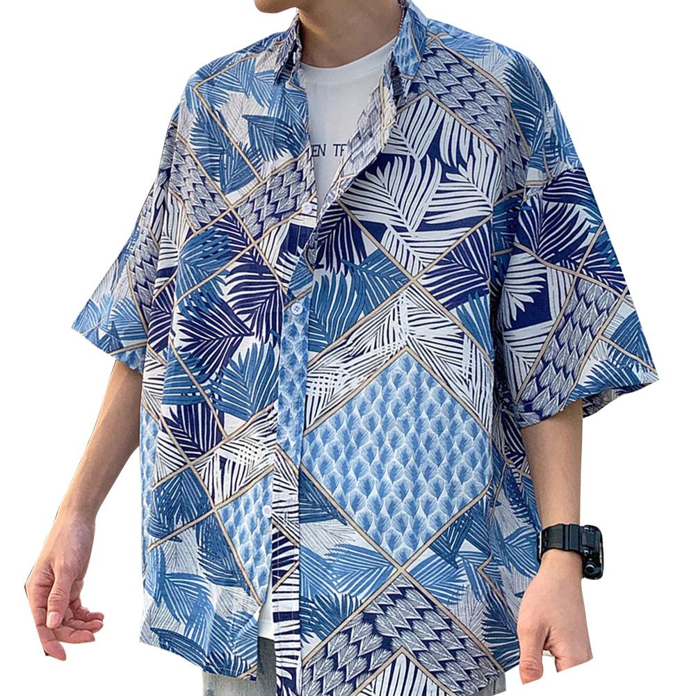Women Men Leisure Shirt Personality Geometrical  Printing Short Sleeve Retro Hawaii Beach Shirt Top Summer C113 #_L