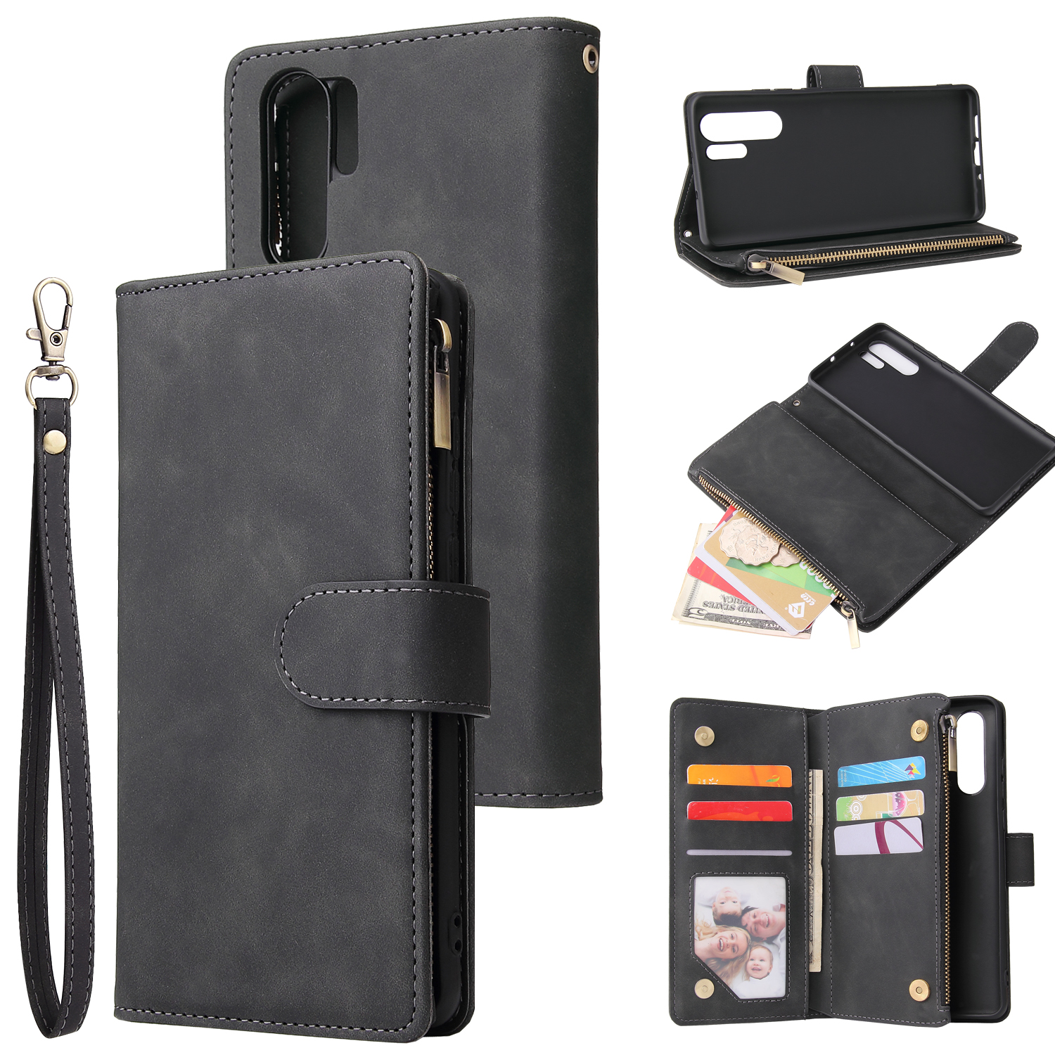 For HUAWEI P30 HUAWEI P30 lite HUAWEI P30 pro Multi-card Bracket Coin Wallet Zipper Mobile Phone PU Leather Phone Case  1 black