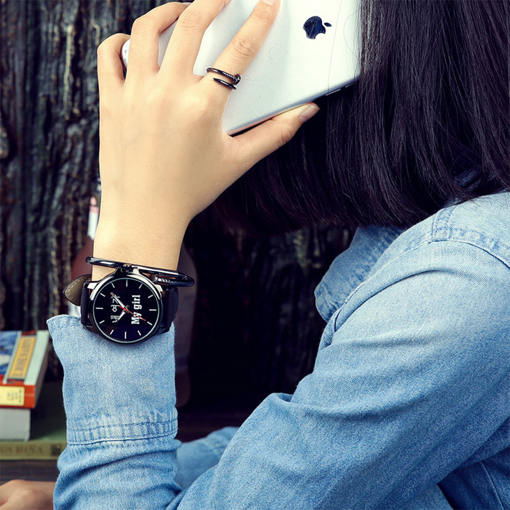 Fashion Simple Leather Watchband Couple Watch girl