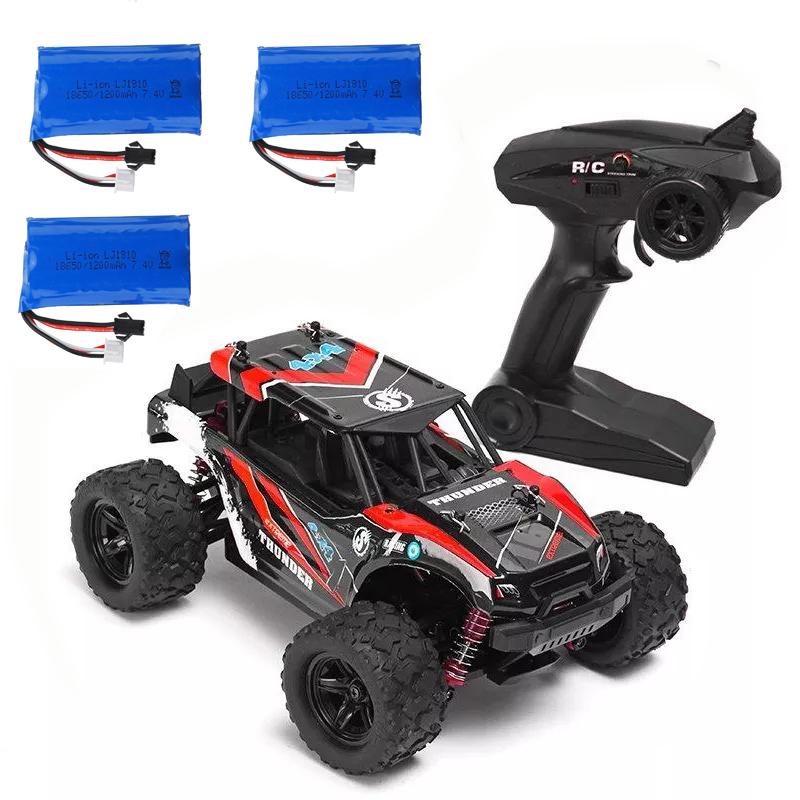 HS 18311/18312 1/18 40+MPH 2.4G 4CH 4WD High Speed Climber Crawler RC Car Toys red_Three battery