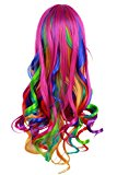 Fashionwu Long Curly Women Colorful Hair