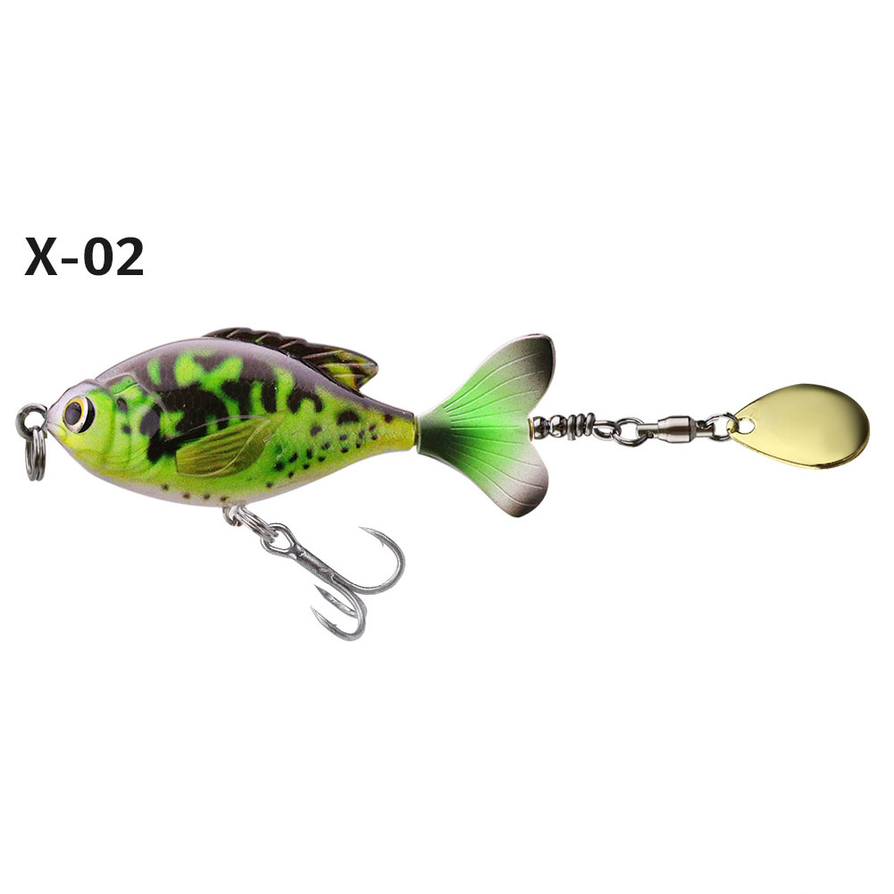 16.5G/6CM Rotate Tail Popper Lure Topwater Wobble Fishing Lures Bait Bass Fishing Tackle X-02# color OPP bag