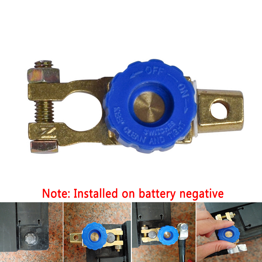 Car Motorcycle Battery Terminal Link Switch Quick Cut-off Disconnect Protector Battery leak-proof Car Battery Power-off Switch blue